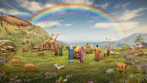 el arco iris,noé y Su familia,historias biblicas